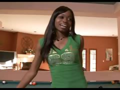 Ebony girl fucking on the pool table