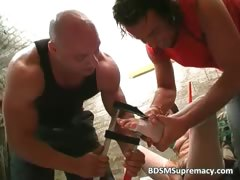 Extreme BDSM play with messy tied bitch part1
