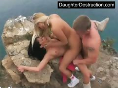 Two blonde teen whores fucked good